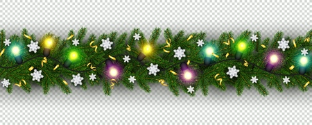 Christmas and New Year border of realistic branches of Christmas tree, garland, snowflake, serpentine Element for festive design isolated on transparent background Vector