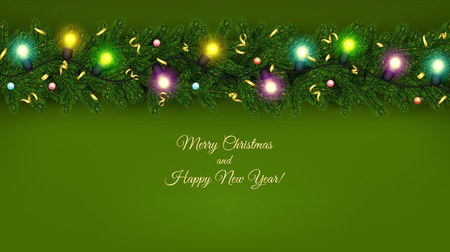 Christmas and New Year banner of realistic branches of Christmas tree, garland with glowing light bulbs, serpentine Festive background Vector illustration 일러스트