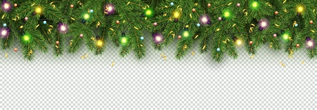 Christmas and New Year banner of realistic branches of Christmas tree, garland with glowing light bulbs, holly berries, serpentine Festive background Vector Isolated on transparent background Ilustracja