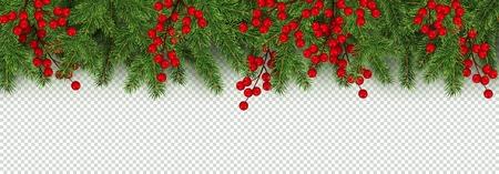 Kerstmis en Nieuwjaar grens van realistische takken van de kerstboom en hulst bessen Element voor feestelijk ontwerp geïsoleerd op transparante achtergrond Vector illustratie