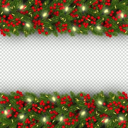 Modèle de bannière de Noël et du nouvel an avec des branches réalistes horizontales de sapin de Noël, guirlande avec des ampoules incandescentes, baies de houx, serpentine fond festif Illustration vectorielle Vecteurs