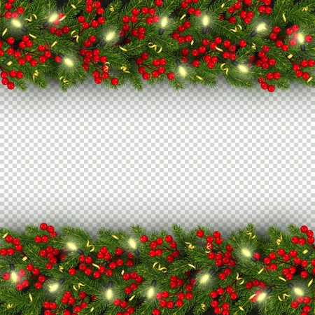 Christmas and New Year banner template with of horizontal realistic branches of Christmas tree, garland with glowing lightbulbs, holly berries, serpentine Festive background Vector illustration