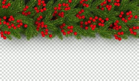 Bordo di Natale e Capodanno di rami realistici di albero di Natale e bacche di agrifoglio Elemento orizzontale per il disegno festivo isolato su sfondo trasparente Illustrazione vettoriale