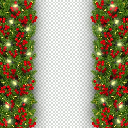 Christmas and New Year banner template Realistic branches of Christmas tree, garland with glowing lightbulbs, holly berries, serpentine Festive background Vector illustration Illustration
