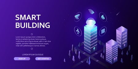 Smart building Isometric concept Automation control system of intelligent building Engineering systems, video surveillance, electrical appliances Abstract 3d city environment with new technologies
