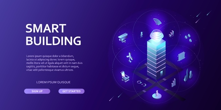 3D smart building Infographics Isometric concept Automation control system of intelligent building Engineering systems, safety Abstract city environment with new technologies