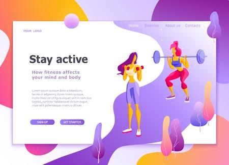 Plantilla de página de destino de estilo de vida saludable, atletismo, fitness femenino Concepto de diseño plano moderno de diseño de página web para sitio web y sitio web móvil Fácil de editar y personalizar Ilustración vectorial