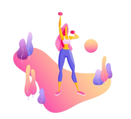 Girl doing fitness exercises with dumbbells Trendy flat vector on gradient background with decorative stylized trees Illustration for web, websites, lending pages, advertising banners, posters, flyers