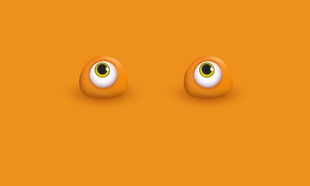 Abstract monochrome background with funny stylized 3d eyes Editable background with space for text Humorous concept Vector illustration