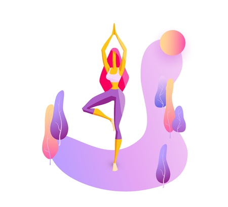 Girl is engaged in yoga, doing exercises Young strong woman on gradient background with trees Trendy flat vector for website, lending page, advertising banner, poster, flyer, presentation Isolated on white Ilustração