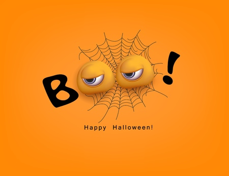Happy Halloween Festive design Boo with 3d funny eyes, spiderweb and text on the orange background Word Boo spooky text Vector illustration