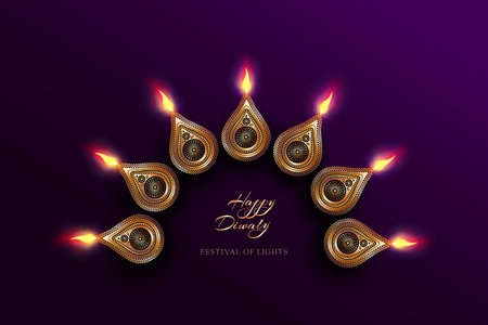 Diwali festival holiday design with golden national lamps in the style of Rangoli.