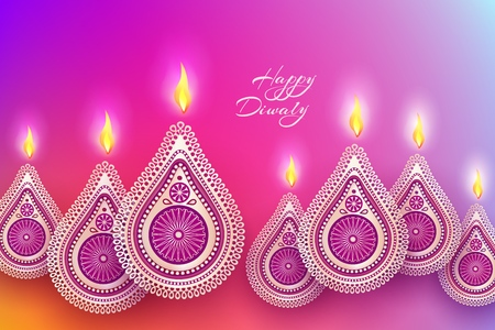 Diwali festival holiday design with golden national lamps diya in the style of Rangoli. Indian National Festival of Lights Deepavali. Vector illustration Ilustração