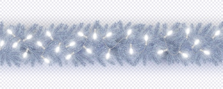 Christmas and New Year border of frozen branches of Christmas tree in Scandinavian style, garland lightbulbs Element for festive design isolated on transparent background Vector