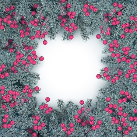 Christmas and New Year frame of realistic branches of Christmas tree and holly berries in Scandinavian style. Element for festive design isolated on white background Vector illustration