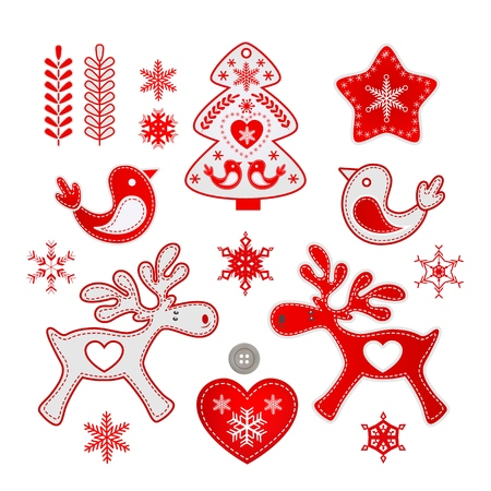 Red and white Christmas Scandinavian handmade decorations with Nordic patterns, Vector illustration isolated on white