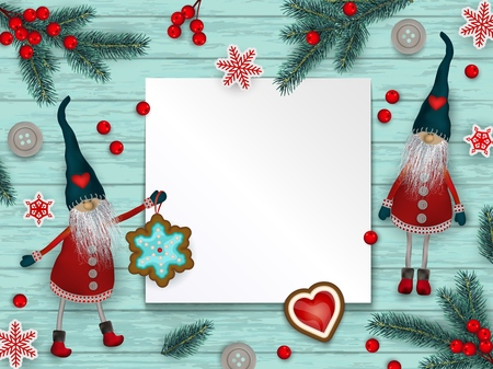 Abstract christmas background, red and white stylized Scandinavian decorations, branches of Christmas tree and holly berries lying on blue wooden surface with place for text, vector illustration