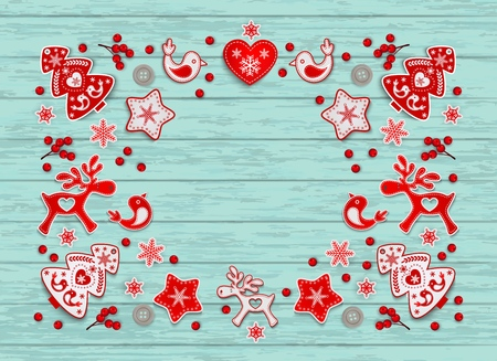 Christmas frame with an ornament of red and white stylized Nordic Christmas decorations on blue painted wooden boards with space for text , vector illustration