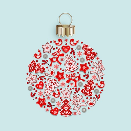New Years ball with ornament of Christmas toys in Scandinavian style, flat lay, isolated on gentle blue background for festive Christmas design, vector illustration