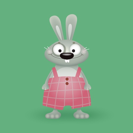 funny plump hare or rabbit in plaid pants, a character for childrens design or computer game, vector illustration