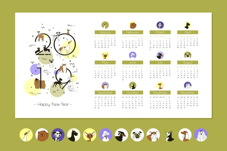 Monthly Business Calendar 2019 with Breeds Dogs, Memphis style, Template, Vector Art, Isolated