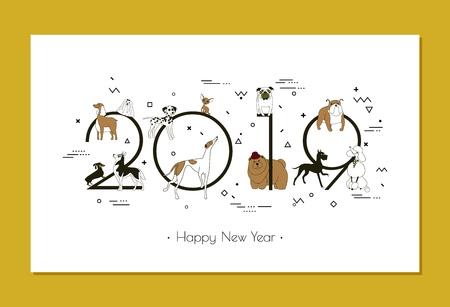 Banner en razas de perros 2019, feliz año nuevo, calendario, estilo Memphis, aislado sobre fondo blanco. Ilustración de vector