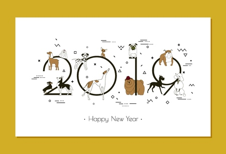 Banner in breeds of dogs 2019, Happy New Year, calendar, Memphis style, Isolated on white background