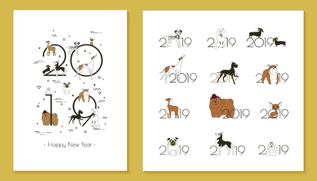 2019 dog calendar, Creative headline and 12 logos with different breeds of dogs.