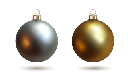 Silver and golden realistic Christmas balls, set of isolated objects on white background for New Year design. Vector illustration EPS 10 Banque d'images - 110299708