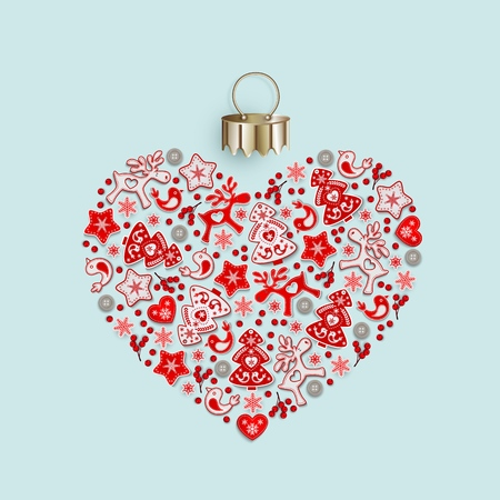 New Years heart with ornament of Christmas toys in Scandinavian style, flat lay, isolated on gentle blue background for festive Christmas design, vector illustration Illustration