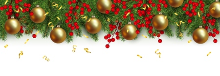Christmas and New Year horizontal border Realistic branches of Christmas tree, ball, garland with glowing lightbulbs, holly berries Decoration for festive design isolated on white background Vetores