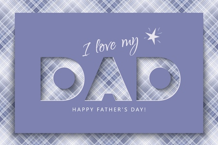 Happy Fathers Day Festive banner, greeting card with a cut out inscription on a brutal checkered