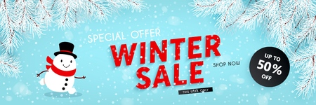 Winter sale, seasonal horizontal banner with snowman, snowfall, snow-covered spruce branches, text, template for advertising design of discounts and retail, vector illustration