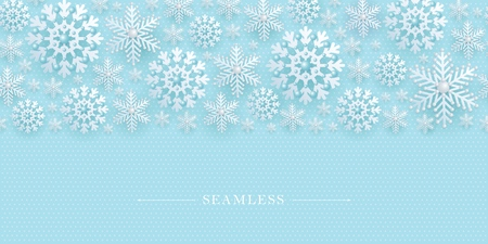 Seamless border with decorative openwork 3D snowflakes decorated with beads. Winter, New Year, Christmas element for holiday and advertising design, Vector illustration