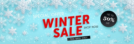 Winter sale, seasonal horizontal blue banner with decorative 3d snowflakes, template for advertising design, vector illustration
