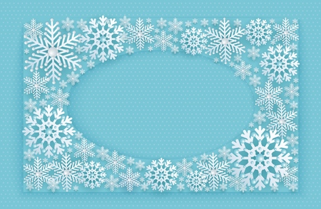 Blue Christmas, New Year, winter frame decorated with 3D stylized snowflakes with beads and a place for advertising text, vector illustration