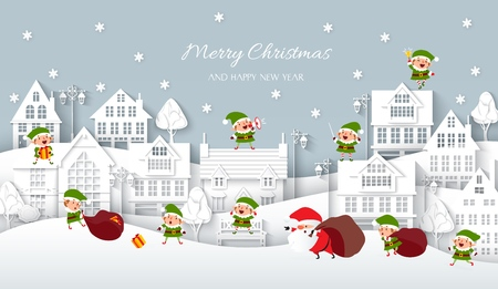 Christmas snowy town, white paper houses in the Scandinavian style, Santa Claus and elves, lanterns, benches, trees, snowflakes, snowdrifts, wintertime, Winter background, vector illustration Illustration