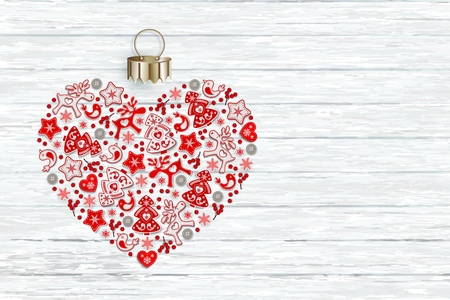 New Years heart with ornament of Christmas toys in Scandinavian style, flat lay, isolated on gentle white background for festive Christmas design, vector illustration