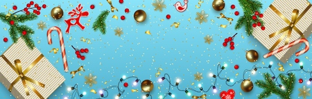 Horizontal Christmas banner with place for text. Blue Christmas background with Christmas decorations, top view. Fir branches, golden balls, gift boxes, holly berries, toys, lollipop. Vector
