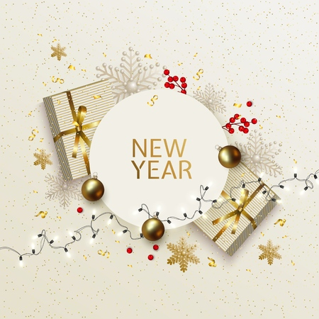 New Year and Christmas greeting card with festive decorations White golden postcard with gift boxes, balls, holly berries, snowflakes, garland of glowing light bulbs Xmas decoration elements