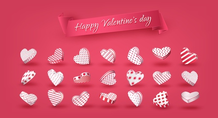 Coral 3d hearts, Set, Ribbon with an inscription Happy Valentine's Day. Wedding, Love. Collection of volumetric isolated elements for festive design and advertising. Vector illustration