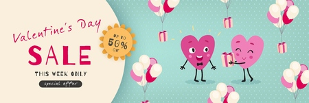 Valentines Day Sale, Advertising Banner with funny cartoon hearts. Horizontal holiday template for Valentine's Day discounts, promotions, sales. Vector illustration