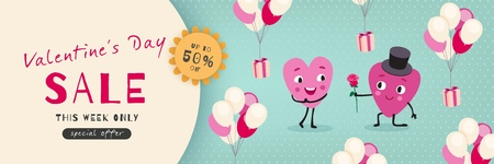 Valentines Day Sale, Advertising Banner with funny cartoon hearts. Horizontal holiday template for Valentines Day discounts, promotions, sales. Vector illustration