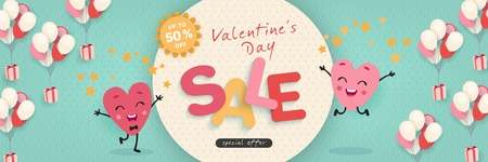 Valentines Day Sale, Advertising Banner with funny cartoon hearts. Horizontal holiday template for Valentine's Day discounts, promotions, sales. Vector illustration Vector Illustration