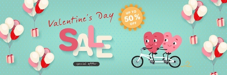 Valentines Day Sale, Advertising Banner with funny cartoon hearts. Horizontal festive template for Valentines Day discounts, promotions, sales. Vector illustration Illustration