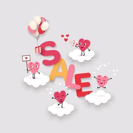 Vente de la Saint-Valentin, arrière-plan publicitaire créatif avec les mots vente et coeurs animés de dessins animés mignons sur les nuages, les ballons et les cadeaux, image vectorielle isolée, palette de corail
