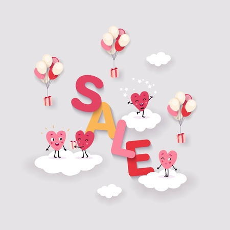 Valentines Day Sale, Creative advertising background with the words Sale and cute cartoon animated hearts on clouds, balloons and gifts, Isolated vector image, coral palette