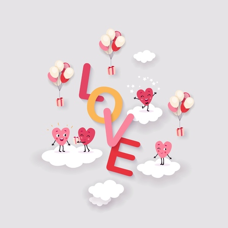 Love and Heart Background for Valentines Day, Wedding, Engagement. Surround text with funny animated hearts on clouds, festive design, vector illustration