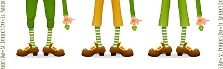 Happy Patricks Day, leprechauns feet, leprechauns hands with clover Shamrock, set for festive Irish national holiday design, vector illustration
