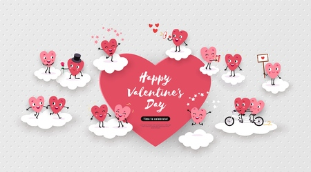 Happy Valentines Day festive advertising design. 3d paper cut animated couples of loving hearts, clouds, air, space for text. Love story, funny romantic symbols in different situations, vector